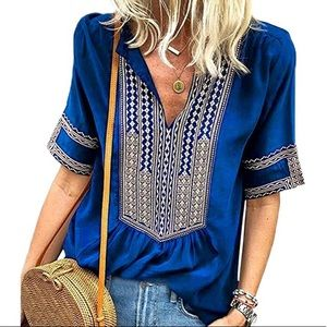 - - - Gorgeous Bohemian Blouse Top Royal Blue